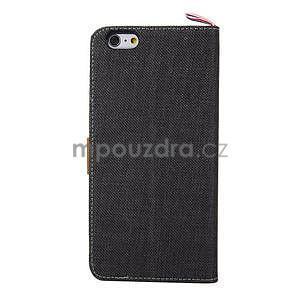 Látkové/koženkové peněženkové pouzdro na iphone 6s a 6 - černé - 3