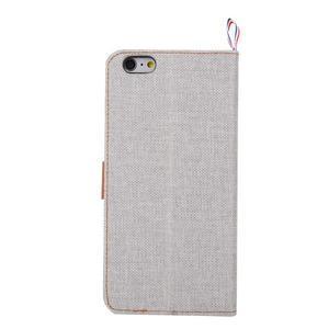 Látkové/koženkové peněženkové pouzdro na iphone 6s a 6 - šedé - 3