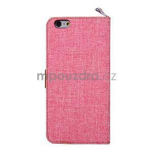 Látkové/koženkové peněženkové pouzdro na iphone 6s a 6 - růžové - 3