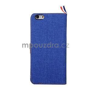 Látkové/koženkové peněženkové pouzdro na iphone 6s a 6 - modré - 3