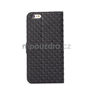 Mřížkované koženkové pouzdro na iPhone 6 a iPhone 6s - černé - 3