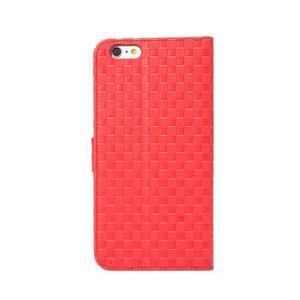 Mřížkované koženkové pouzdro na iPhone 6 a iPhone 6s - červené - 3