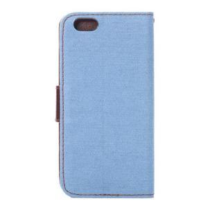Jeans látkové/pu kožené peněženkové pouzdro na iPhone 6 a 6s - světle modré - 3