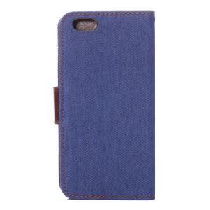 Jeans látkové/pu kožené peněženkové pouzdro na iPhone 6 a 6s - modré - 3