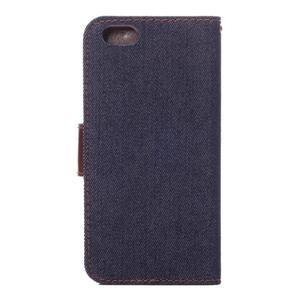 Jeans látkové/pu kožené peněženkové pouzdro na iPhone 6 a 6s - tmavě modré - 3