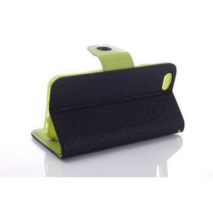 Dvoubarevné peněženkové pouzdro pro iPhone 6 a iPhone 6s - černé/zelené - 3