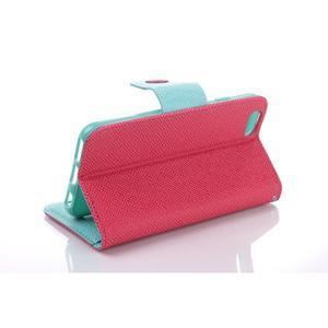 Dvoubarevné peněženkové pouzdro pro iPhone 6 a iPhone 6s - rose/cyan - 3