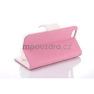 Dvoubarevné peněženkové pouzdro pro iPhone 6 a iPhone 6s - růžové/bílé - 3