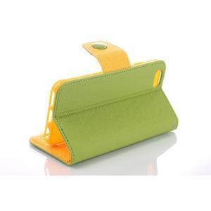Dvoubarevné peněženkové pouzdro pro iPhone 6 a iPhone 6s - zelené/žluté - 3