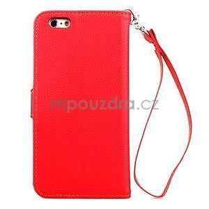 PU kožené peněženkové pouzdro pro iPhone 6s a 6 - červené - 3