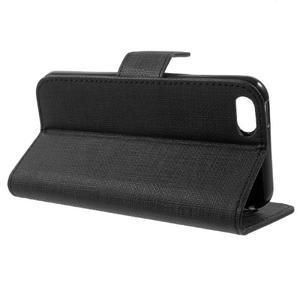 Cloth PU kožené pouzdro na iPhone SE / 5s / 5 - černé - 3