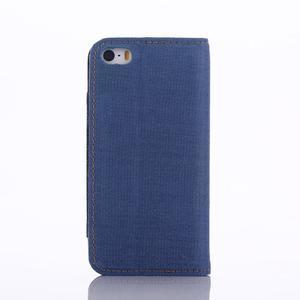 Jeans peněženkové pouzdro na mobil iPhone SE / 5s / 5 - modré - 3