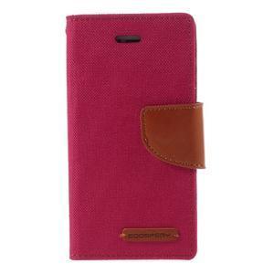 Canvas PU kožené/textilní pouzdro na mobil iPhone SE / 5s / 5 - červené - 3