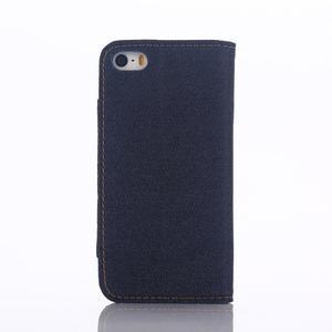 Jeans peněženkové pouzdro na mobil iPhone SE / 5s / 5 - tmavěmodré - 3