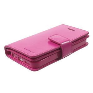 Extrarich PU kožené pouzdro na iPhone SE / 5s / 5 - magneta - 3