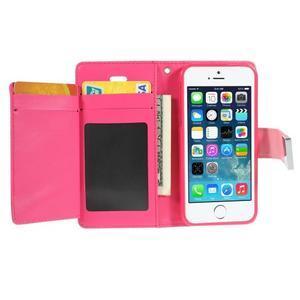 Rich diary PU kožené pouzdro na iPhone SE / 5s / 5 - růžové - 3