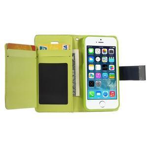 Rich diary PU kožené pouzdro na iPhone SE / 5s / 5 - tmavěmodré - 3