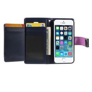 Rich diary PU kožené pouzdro na iPhone SE / 5s / 5 - fialové - 3
