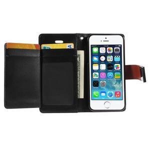 Rich diary PU kožené pouzdro na iPhone SE / 5s / 5 - hnědé - 3