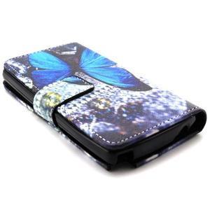 Style peněženkové pouzdro na LG Leon - modrý motýl - 3
