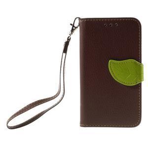 Leaf PU kožené pouzdro na mobil LG Leon - hnědé - 3