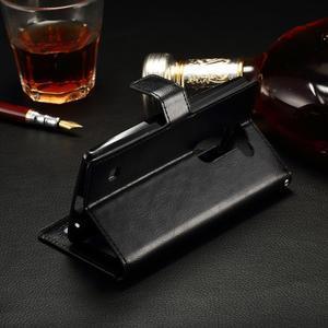 Peněženkové PU kožené pouzdro na LG Spirit - černé - 3