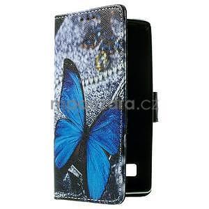Peněženkové pouzdro na LG Spirit - modrý motýl - 3