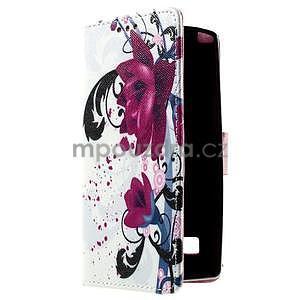 Peněženkové pouzdro na LG Spirit - fialové květy - 3