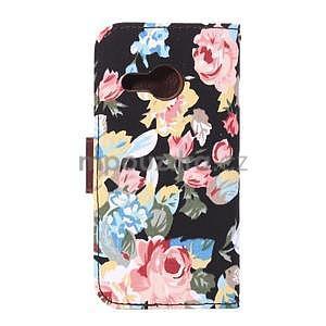 Květinové peněženkové pouzdro na HTC One Mini 2 - černé - 3