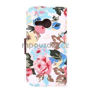 Květinové peněženkové pouzdro na HTC One Mini 2 - bílé - 3