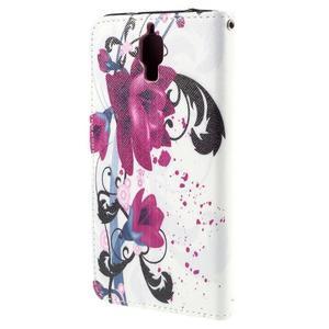 Cross peněženkové pouzdro na Xiaomi Mi4 - fialové květy - 3