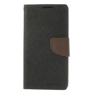 Fancy peněženkové pouzdro na Sony Xperia Z2 - černé/hnědé - 3