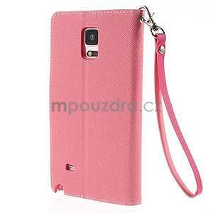 Stylové peněženkové pouzdro na Samsnug Galaxy Note 4 - růžové - 3