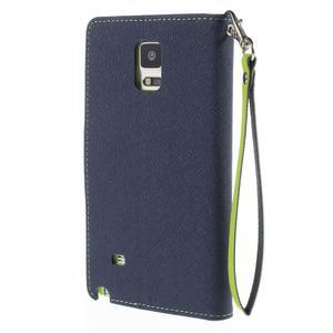 Stylové peněženkové pouzdro na Samsnug Galaxy Note 4 - tmavě modré - 3