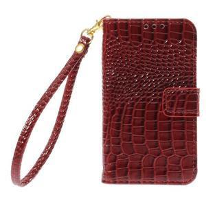 Croco peněženkové pouzdro na Samsung Galaxy Core Prime - červené - 3