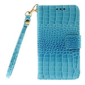 Croco peněženkové pouzdro na Samsung Galaxy Core Prime - modré - 3