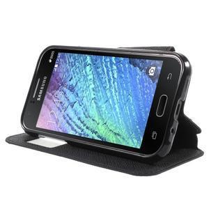 PU kožené pouzdro s okýnkem Samsung Galaxy J1 - černé - 3