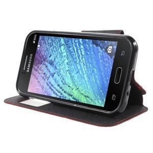 PU kožené pouzdro s okýnkem Samsung Galaxy J1 - červené/černé - 3