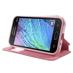 PU kožené pouzdro s okýnkem Samsung Galaxy J1 - rose/růžové - 3