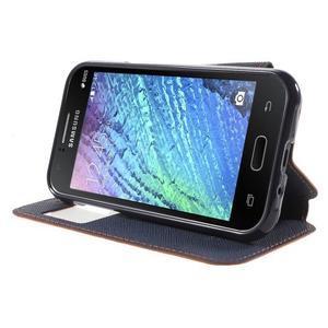 PU kožené pouzdro s okýnkem Samsung Galaxy J1 - oranžové/tmavě modré - 3