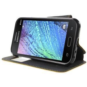 PU kožené pouzdro s okýnkem Samsung Galaxy J1 - žluté/černé - 3