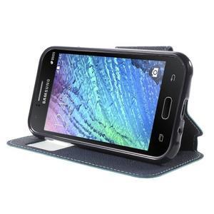 PU kožené pouzdro s okýnkem Samsung Galaxy J1 - světle modré/tmavě modré - 3