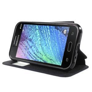 PU kožené pouzdro s okýnkem Samsung Galaxy J1 - tmavě modré/černé - 3
