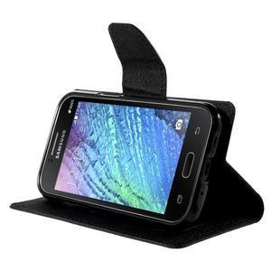 Černé PU kožené pouzdro na Samsung Galaxy J1 - 3