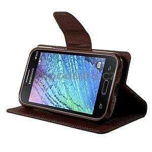 Černé/hnědé PU kožené pouzdro na Samsung Galaxy J1 - 3