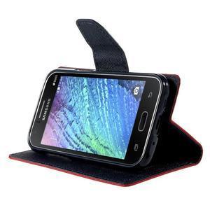Červené/tmavě modré PU kožené pouzdro na Samsung Galaxy J1 - 3
