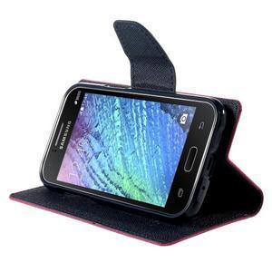 Rose/tmavě modré PU kožené pouzdro na Samsung Galaxy J1 - 3