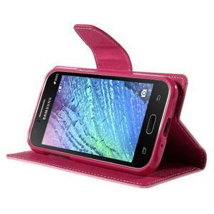 Růžové/rose PU kožené pouzdro na Samsung Galaxy J1 - 3