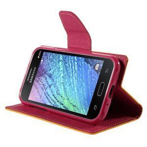 Žluté/rose PU kožené pouzdro na Samsung Galaxy J1 - 3