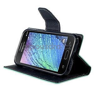 Azurové/tmavě modré PU kožené pouzdro na Samsung Galaxy J1 - 3